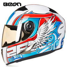 Brand BEON Full Face Helmet retro Motorcycle Helmets Classic Kart Racing helmet motociclistas capacete ECE Approved B-500(China)