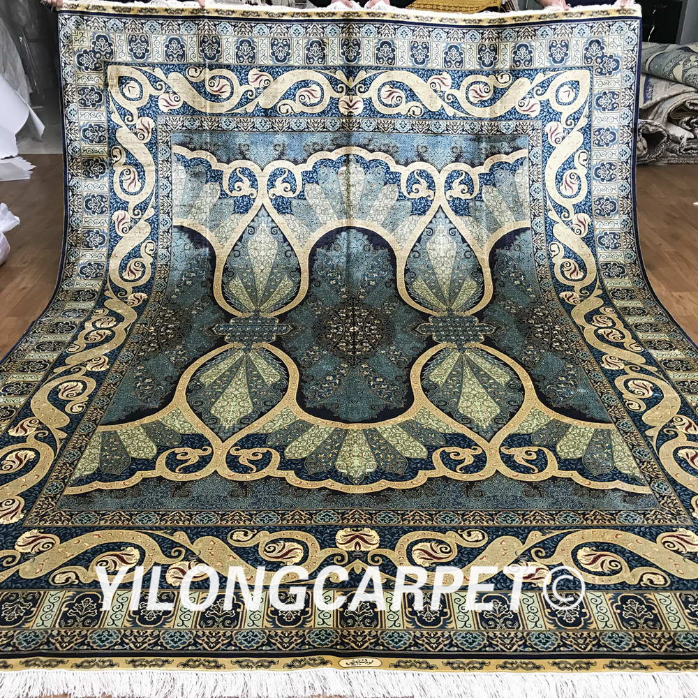 Yilong 8'x10' oriental handmade rug large blue Turkish hand knotted silk carpet (1959)(China (Mainland))