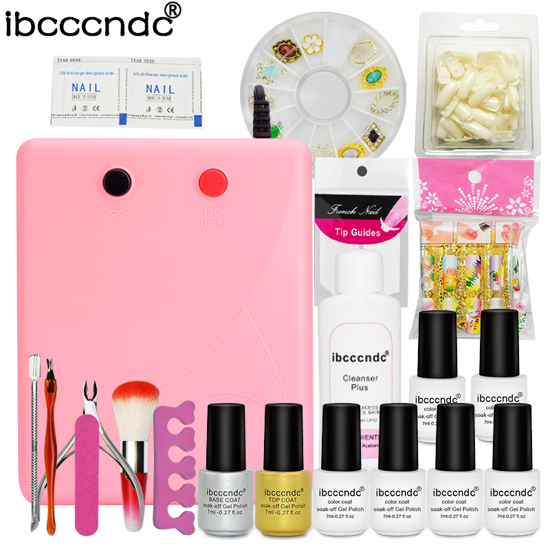Nail Art Set Manicure Tools 36W UV Lamp 6 Color 7ml Soak Off Gel Nail Base Gel Top Coat Polish with Remover False Nail Tips Kit<br>