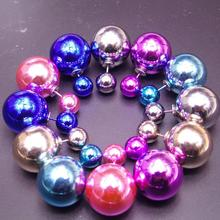 lovely stay Meng Bear imitation simulated pearl earrings inlaid rose silver color color steel earrings jewelry wholesale