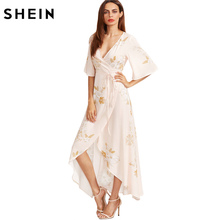 SHEIN Pink Flower Print Kimono Sleeve Surplice Wrap High Low Dress Summer Deep V Neck Half Sleeve A Line Asymmetrical Dress