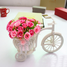 MENGXIANG   26*16*12cm Handmade Tricycle/Bike Flower Basket for Flower Vase and Storage Home Weddding Decoration