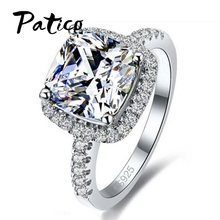 PATICO Luxury 100% 925 Sterling Silver Rings for Women Wedding Engagement Acessories Cubic Zirconia Jewelry Big Promotion(China)