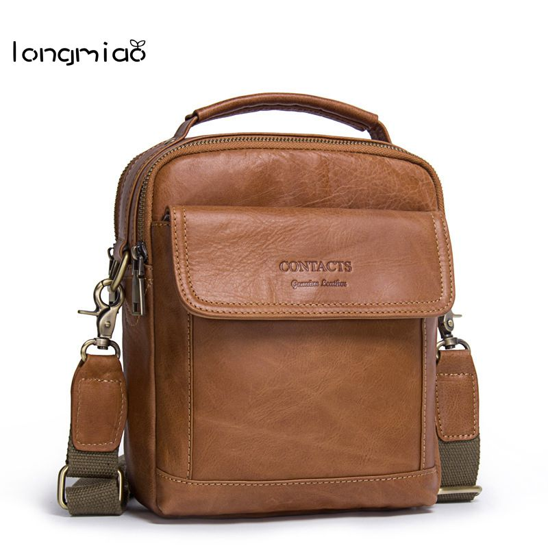 longmiao 100% Genuine Leather Man Messenger Bags Cowhide Leather Male Bag Casual Men Commercial Briefcase Shoulder Crossbody Bag<br>