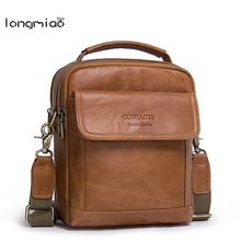longmiao 100% Genuine Leather Man Messenger Bags Cowhide Leather Male Bag Casual Men Commercial Briefcase Shoulder Crossbody Bag(China)