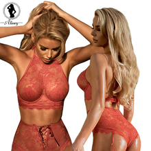 ALINRY 2017 Sexy Open perspective black red Lace Lash Underwear Bra & Brief Set for young Women adjustable strap lingerie