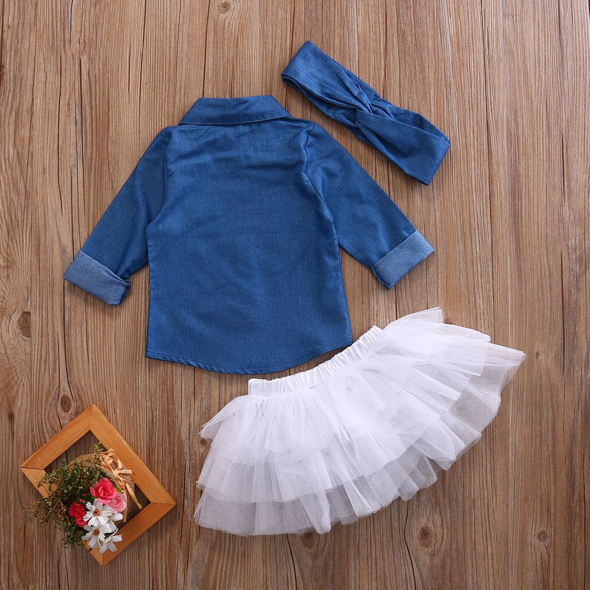 0-5a enfant nouveau enfants bébé filles infantile à manches longues denim tops shirt + tutu jupes dress + bandeau 3 pcs jeans tenues vêtements set 10