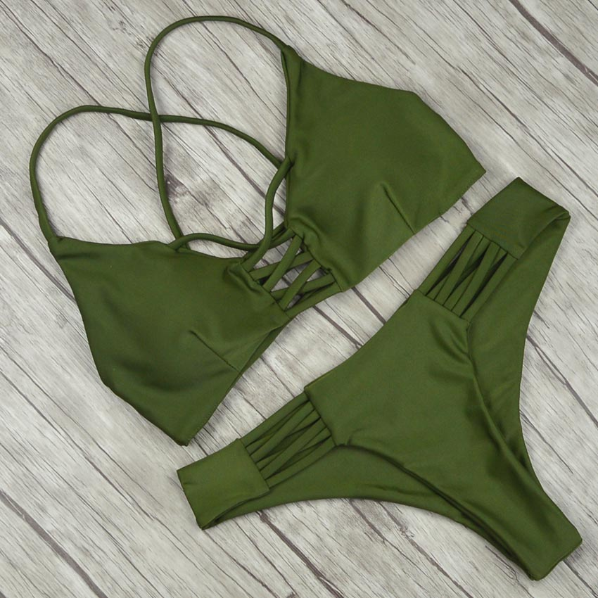 19 Women Bandage Thong Brazilian Bikinis Swimwear Female Sexy Green Bandeau Push up Swimsuit Bikini Set Beachwear Biquini 5