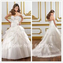 Gorgeous Sweetheart Pleated Bodice Organza Ball Gown Bridal Strapless Wedding Dresses Corset Back