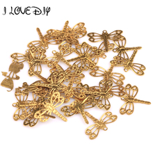 Wholesale 100pcs Gold Dragonfly Charms Pendants Findings 12x15mm
