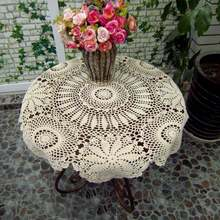 Hot Selling Crochet Tablecloth Vintage Hollow Out Table Cover DIY Home Wedding Party Decor Round Coffee Desk Tablecloths