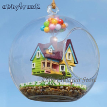 Abbyfrank DIY Glass House Model With Lamp Handmade Miniature Furniture Paradise Falls UP Flying Cabin House Wooden Toy Gifts(China)
