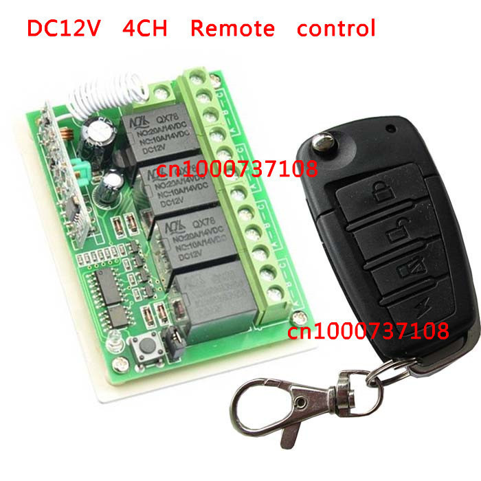 DC12V 4CH switch power supply rf wireless push button switch with transmitter and receiver Learning code switches<br><br>Aliexpress