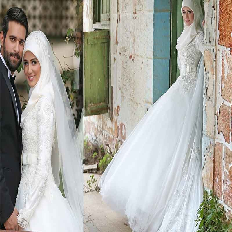 2018 Bacelackgirl Muslim High-end Customized Muslim Long Sleeve Lace Wedding Dresses Hui Marry Full Dress Muslim Wedding Dresses