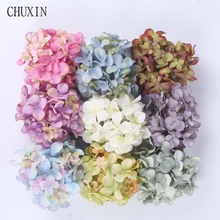 10PCS/lot Artificial Flowers Heads European Hydrangea Silk Flowers Fake Flores For Wedding Decoration Background Wall DIY Fleur(China)