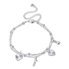 Double Rows Ankle Bracelet Cheville heart Foot Jewelry Leg Chain High-heeled shoes Beach Anklets For Women Barefoot Sandals(China)