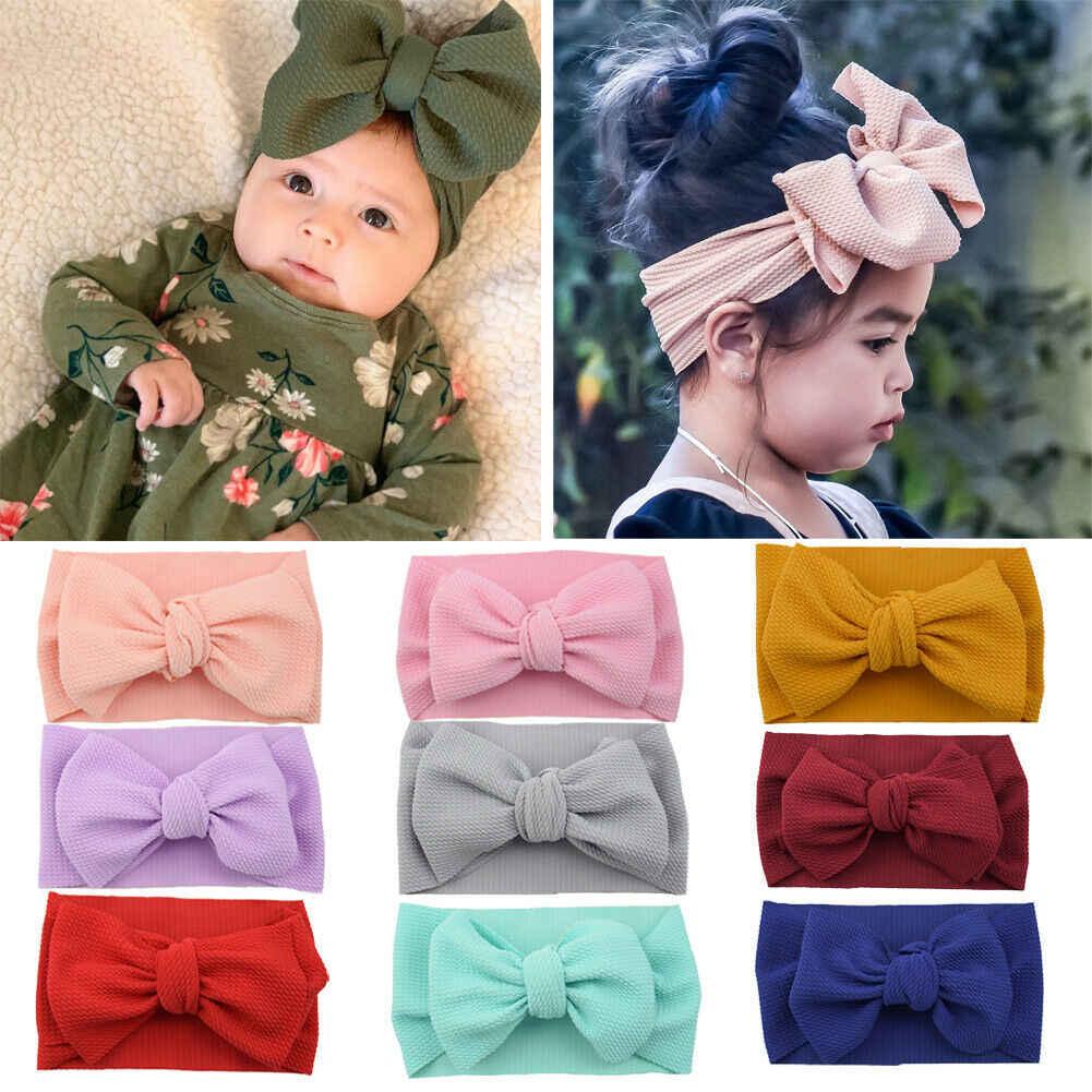 Newborn Toddler Kid Baby Girls Bow Solid Turban Headband Headwear Accessories UK