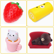 4PCS Squishy Strawberry Brown Bear Teacup Cat Cake Roll Jumbo Slow Rising Collection Gift Decor Toy