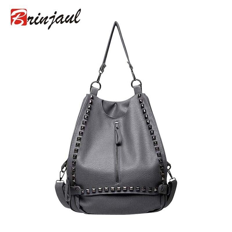 Famous Brand Backpack Women Backpacks Rivet Vintage School Bags For Girls Black Leather Backpack Mochilas Mujer 2017 CX080<br><br>Aliexpress