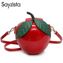 Sayzisfa Brand New Women Crossbody Bags Fashion Red Apple Mini Bag Lady Female Messenger Bags Leaves Bags for Teenager Girl T305(China)