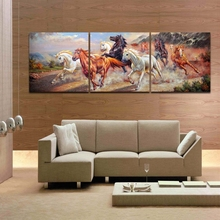 3 Pieces Wall Art Set Wild Horse Picture HD Canvas Prints Art for Living Room Office Decoration