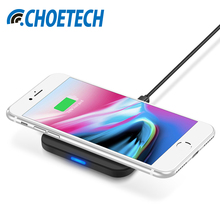CHOETECH Qi Wireless Charger For Iphone X for Iphone 8 8 plus 7.5W Universal QI Wireless Charging Pad for Samsung Galaxy S8 Plus(China)