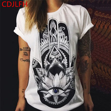 CDJLFH t short women Europe And America Summer Fashion Cotton Prints Short Sleeve O-Neck T-shirt Tops Shirt 2017 Tee