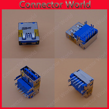 20-100pcs/lot Original New USB 3.0 Laptop USB Connector Blue USB JACK USB 3.0 Heightening DIP feet copper down high plate