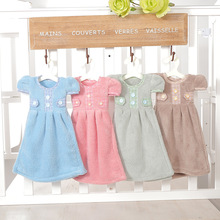 12Pcs/Set New Cute Dress Kitchen Towel Hanging Coral Velvet Buttons Hand Towels Clean and Dry Hands For Kitchen Bathroom Cloths