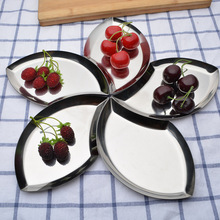 Keythemelife 1pcs Leaf Shape Splicing Fruit dish Stainless Steel Fruit Tools Multifunction Dried Fruit plate Kitchen Tools C1(China)