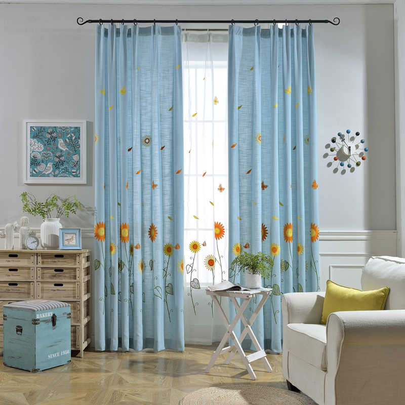 Korean Pastoral Tull Cotton Embroidered Curtains Tulle Blackout Curtains For Living Room Bedroom curtains Window set  WP298&3