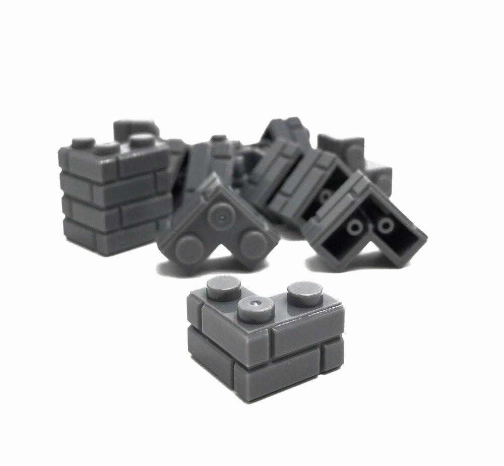 Lego Lot 1x2 Bricks Modified w// Masonry Profile Wall 100pc Decor