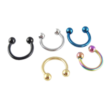 2016 new fashion 8mm round fake nose ring septum stainless steel labret eyebrow ring body piercing silver black gold nose hoop