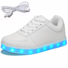 new 2017 USB Charging kids basket glowing luminous children shoes with led light up casual shoes for boy&girls sneakers enfant(China)