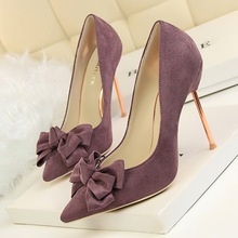 2017 New Spring Women Pumps Elegant Bow Plating Thin High Heels Shoes Shallow Sweet Pointed Suede Single Women's Shoes G395-1