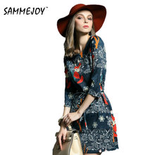 SAMMEJOY Vintage Dresses 2017 New Spring Dress Sexy Style Mini Summer Half Sleeve Floral Club Fox Printed Robe Vestidos de 80090