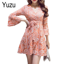 Party Dresses Women Sexy Lace V-Neck Summer Dress Flare Sleeve Orange Green Bow Slash A-Line Vestidos Robe Womens Clothing