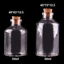 20pcs 50ml 60ml Small Glass Bottles with Cork Stopper Empty Spice Bottles Jars Gift Crafts Vials(China)