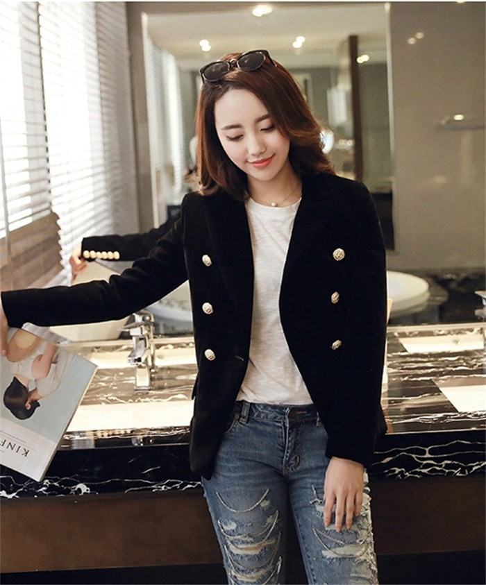 2016 New Spring Fashion Women Midnight Navy Slim Velvet Blazer Jacket Double Breasted simple Lady Blazers (8)