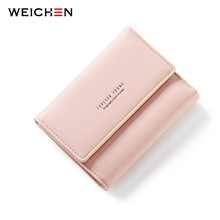 WEICHEN Brand Designer Korean Short Wallets Women Change Purse Female Wallet with Credit Card Photo Holder Girls Mini Bags(China)