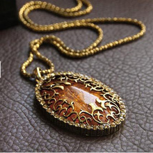 Vintage European Style Women Gold Metal Hollow Pattern Oval Baltic Big Stone Pendant Long Tibet Necklace Sweater Chain NK083(China)