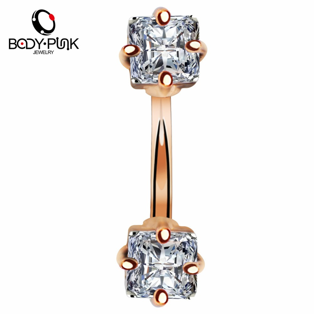 """14g 3//8/"""" Prong Set IP Rose Gold CZ Round Navel Belly Ring 5MM Top Ball"""