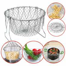 Collapsible Colander Mesh Basket Steam Rinse Strainer Stainless Steel Filter Kitchen Sieve Fry French Chef Basket Cooking Tools(China)