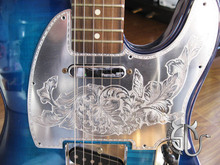 Free shipping american standard size hand engraving aluminum pickguard for TELE guitars classical retro pattern can be custom