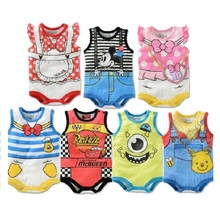 2017 Summer Cartoon Baby Bodysuit Mickey Boys Clothes Minnie Baby Girl Jumpsuits Daisy Donald Duck Newborn Clothes Sleeveless
