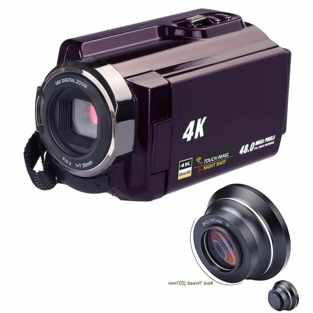 4K Camcorder Video Camera Ultra HD 60 FPS Digital Video Recorder Wifi night Vision LCD Touchscreen External with Wide Angle Lens 6