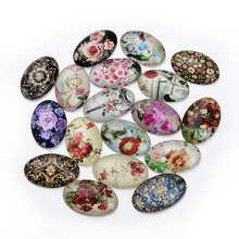 20*30mm Oval Photo Glass Cabochons Mixed Flower Style Fit Cameo Base Setting For Jewelry Embellishment Flat back 20pcs/lot F2993
