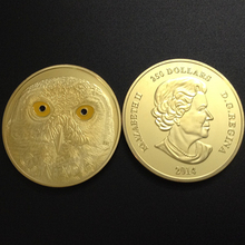 50 pcs/lot High quality new Canada Elizabeth Owl rare animal gold plated gift souvenir coin.40mm