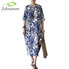 Johnature Cotton Linen Vintage Flower Pint Women Fall Dress Half Sleeve O-neck Washed Plus Size Loose 2017 New Autumn Women Robe(China)