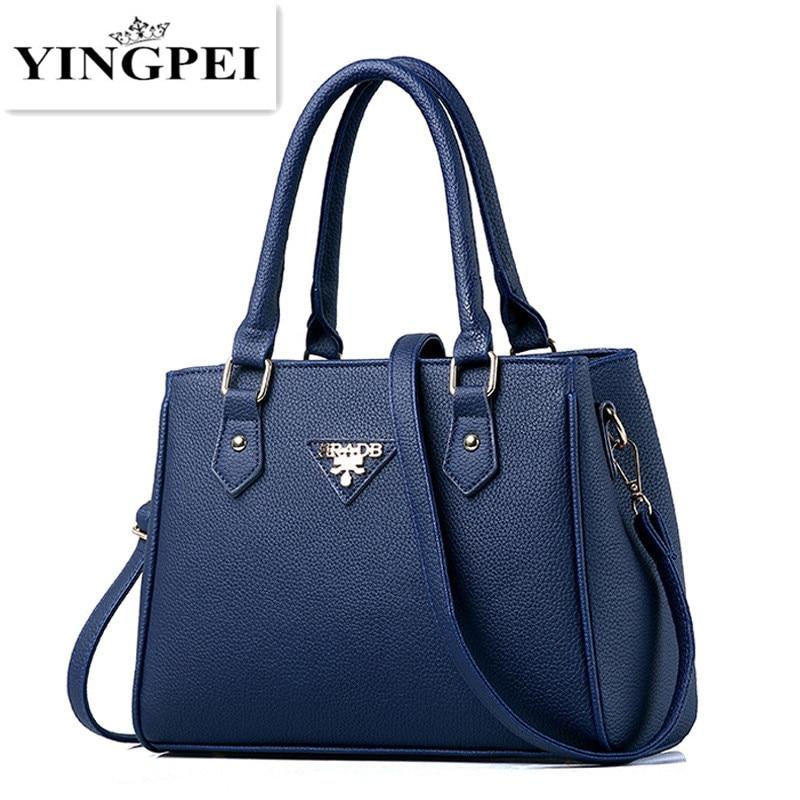Women bag fashion 2017 luxury famous designer brand PU leather handbags messenger  vintage Casual Satchels Crossbody Black Blue<br><br>Aliexpress